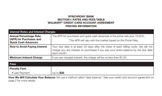 Walmart Credit Card Terms And Agreement - Creditcardsfair.com